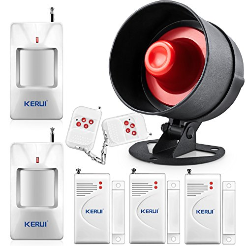 Security System Deluxe Kit (KERUI Standalone Home Office & Shop Security Alarm System Kit, Wireless Loud Indoor / Outdoor Weatherproof Strobe Siren Horn with Remote Control and Door Contact Sensor,Motion Sensor,Up to)