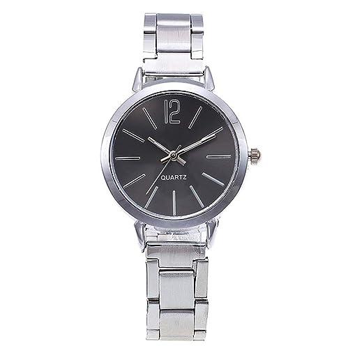 BBestseller Moda Simple Correa de Acero Reloj de señoras,Reloj de Pulsera de Cuarzo Ultrafino de Acero Watch Deportivo (Negro): Amazon.es: Relojes