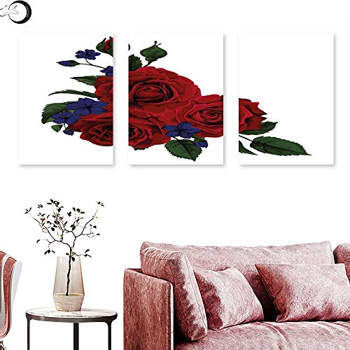 Rose Living Room Home Office Decorations Blooming Red Roses with Gentle Wild Flowers Leaves Bouquet Corsage triptych art set Ruby Violet Blue Hunter Green triptych art canvas W 24