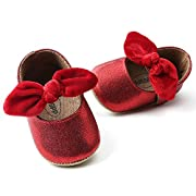 Antheron Baby Girls Non-Slip Mary Jane Flats with Bowknot Toddler First Walker Sandals Princess Dress Shoes (Red,6-12 Month)