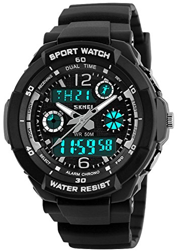 Price comparison product image Kid Watch Multi Function Digital LED Sport 50M Waterproof Electronic Analog Quartz Watches for Boy Girl Children Gift (Black)