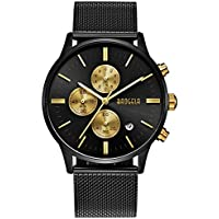Black and Gold Men's Fashion Chronograph Quartz Analog Wrist Watch with Black Mesh Stainless Steel Band - BAOGELA