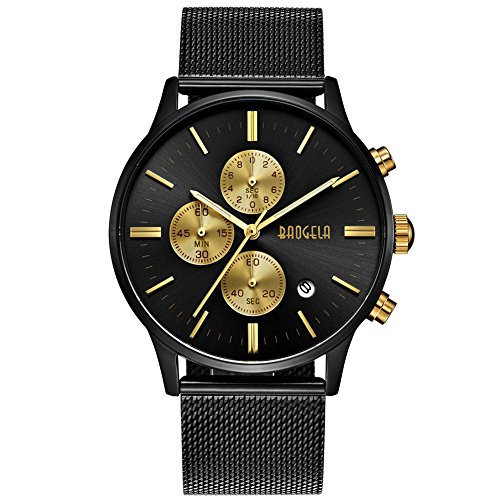 Black and Gold Men's Fashion Chronograph Quartz Analog Wrist Watch with Black Mesh Stainless Steel Band - BAOGELA by BAOGELA