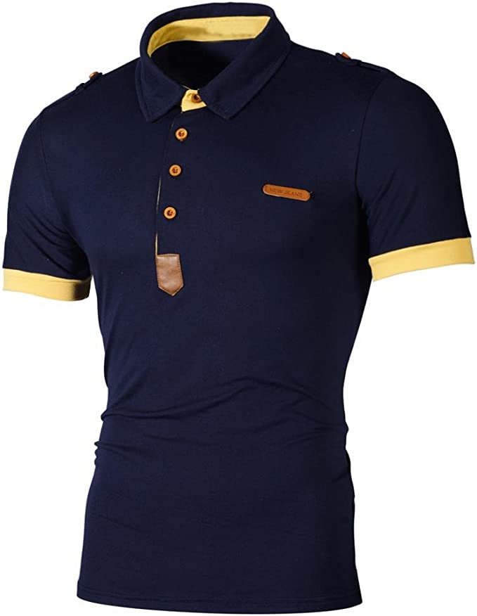 Mens Brave Soul Buttoned Neck Cotton Blend Polo T-Shirt With Chest Embriodary