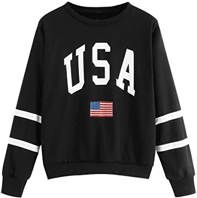 MEIbax Casual Moda Sudadera para Mujer de Bandera Estados Unidos y Rayas Estampado De Manga Larga Pullover Tops Blusa Superior Sweatshirt Camisa Abrigo: Amazon.es: Ropa y accesorios