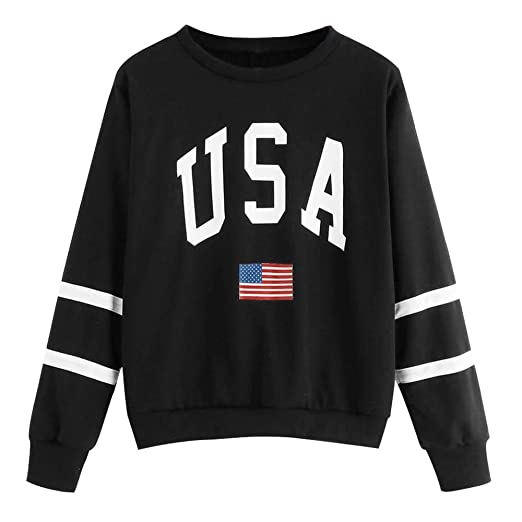 ede2b4541669 TWGONE USA Flag Tshirt Womens Casual Drop Shoulder American Flag Print  Sweatshirt Top Blouse(Small