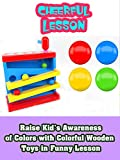 Raise kid's awareness of colors with colorful wooden toys in funny lesson