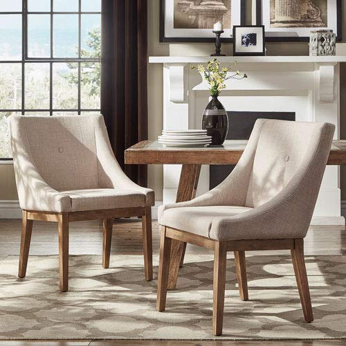 HomeHills Century Beige Linen Slope Arm Side Chair, Set of 2