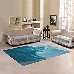 JC-Dress Area Rug Cover Wave Surf Ocean Modern Carpet Cover 7\'x5\'