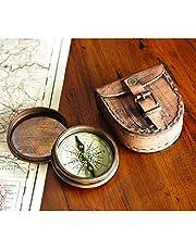 Wind & Weather Antiek messing gedicht kompas met lederen tas