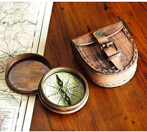 Antiqued Brass Poem Compass
