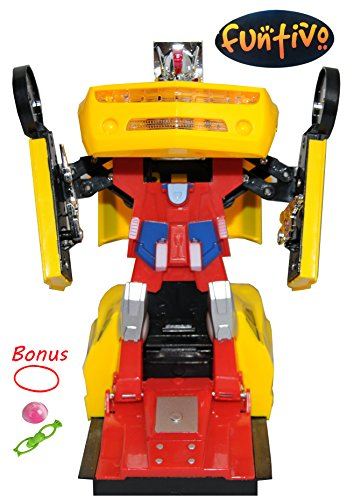 FUNTIVO Bump-N-Go Transforming Robot Car Toy with Lights and Sounds, Battery Operated (Random Colors