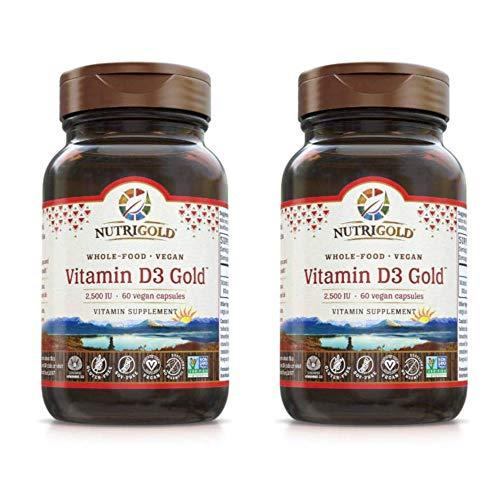 Nutrigold Whole-Food Vegan Vitamin D3 Gold 2500 IU (60 Liquid Veggie Capsules) Pack of 2