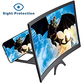 "I00000 12"" 3D Anti-Blue Light Curve Screen Magnifier for Cell Phone, HD Magnifier Projector Screen for Videos, Movies…"