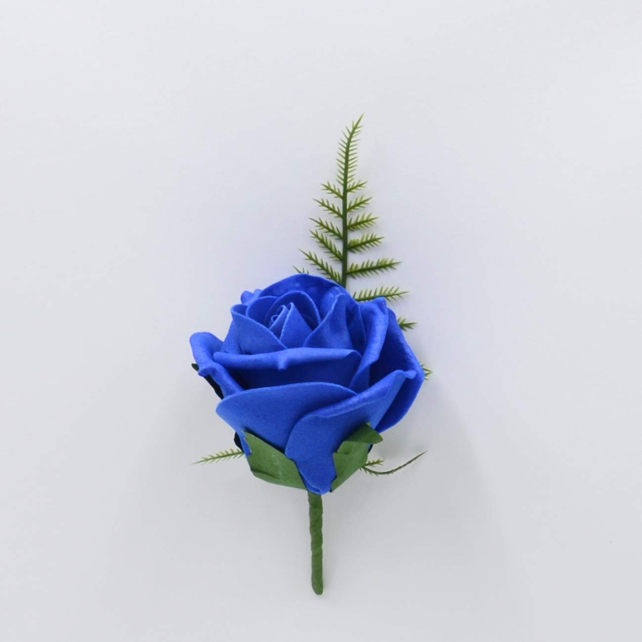 Foam Rose Buttonhole in Royal Blue Artificial Wedding Flowers Hand-Made by Petals Polly