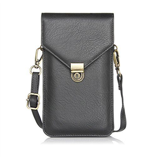 Cell Phone Crossbody Bag 6.3'' Double Smart Phone Slots Bag,Pu Leather Pouch Wallet Bags for Girls Gift, Pockets Series Small Crossbody Bags Cell Phone Purse Wallet for Women (Black) ()