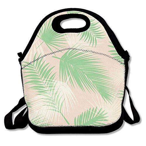 HYEECR Orange Green Palm Leaf Portable Lunch Tote Bags, Takeaway Lunch Box, Outdoor Travel Fashionable Handbag For Men Women Kids (Deadshot Mask For Sale)