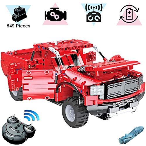 KareFLASH Red Pickup | 549 Building Blocks Compatible with Lego | RC Electric Engine and Charger | STEAM Toy (Pick Up Technics)