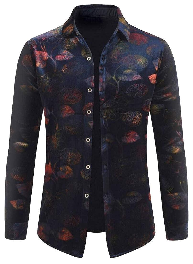 Fubotevic Men All Vogue Slim Long Sleeve Leaf Floral Print Warm Button Down Shirts