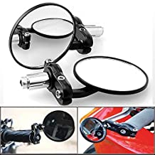 "DLLL 2X 3""Universal Multi Angle Adjustable Billet Aluminum Black Anodized 7/8""Handlebar Motorcycle Electric Motorbike Bar End Blindsight Rearview Convex Side Mirror For Cruiser Chopper"
