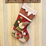 WOMHOPE 30'' Large 3D Christmas Stockings Gift Candy Stockings Santa's Toys Stockings Decorative Hanging Christmas Ornaments (Santa A)