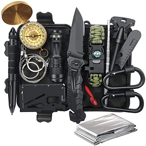 Items for Males Dad, Survival Tools and Apparatus 14 in 1, Fishing Searching Christmas Birthday Valentines Day Present Concepts for Him Husband Boyfriend Teenage Boy, Cool System, Survival Equipment Emergency Tenting