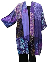 Womens Grape Cascading Patch Kimono Jacket Art to Wear Plus Size