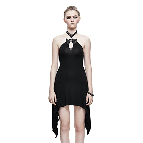 Women's Clothing Heavy Punk Women Sexy Backless Leather Dress Steampunk Black Sleeveless Hollow Out Dresses In Summer
