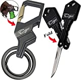 #10: (Set of 2 Item) Beer Bottle Opener Key Chain with 2 Extra Key Rings and a Key Knife Heavy Duty Car Keychain Valentines Day Gifts for Him, Men, Father, Husband, Boyfriend, Dad (Black)
