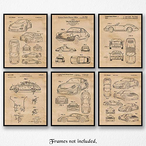 Original Porsche 911 Patent Art Poster Prints- Set of 6 (Six 8x10) Unframed Photos- Great Wall Art Decor Gifts Under $20 for Home, Office, Garage, Man Cave, Student, Teacher, Driver, Mechanic, Fan ()
