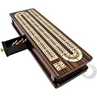 """House of Cribbage - Continuous Cribbage Board / Box Inlaid in Rosewood / Maple 12"""" - 3 Tracks - Sliding Lid Drawer"""