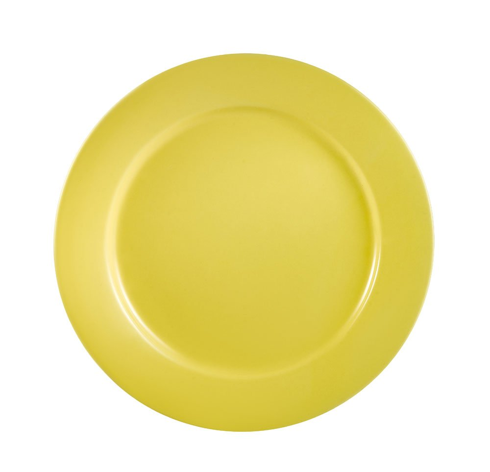 CAC China LV-16-Y 10-1/2-Inch Las Vegas Rolled Edge Stoneware Plate, Yellow, Box of 12