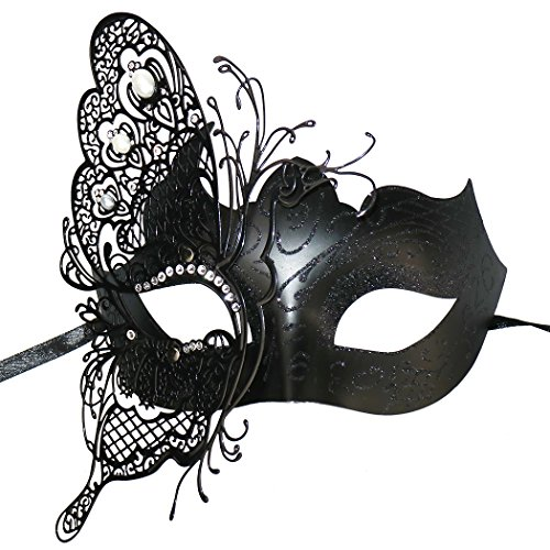 Mysterious Venetian Butterfly Lady Masquerade Halloween Party Mask (Sliver -