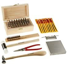 Kent Supplies Metal Stamping Tool Kit with Alphanumeric Stamps and Assorted Tools and Anvil