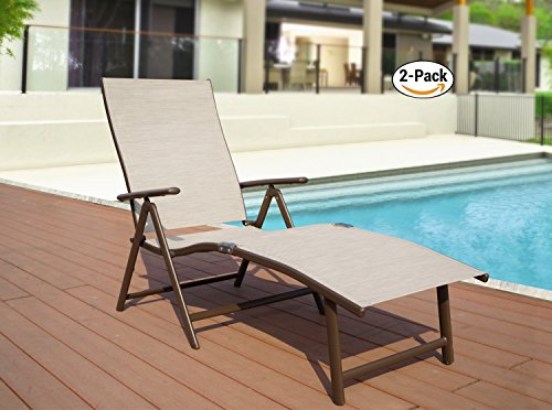 Kozyard Cozy Aluminum Beach Yard Pool Folding Reclining Adjustable Chaise Lounge Chair (2, Beige) by Kozyard (Image #1)
