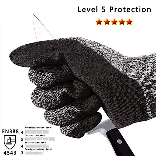 Cut Resistant Gloves Anti-Slip High Performance Level 5 Protection Safety Kitchen Outdoor Yard Work Auto Repair Flexible Breathable Cool Stretchy Work Gloves