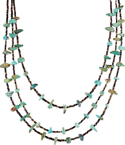 Native-Bay Large Retail Tag Authentic 3 Strand Made By Charlene Little Navajo Silver Turquoise Native American Necklace (Three Strand Necklace Turquoise)