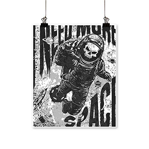 Single Painting Skull Spaceman Suit Over Background Dead Spooky Halloween Theme Grey Office Decorations,20