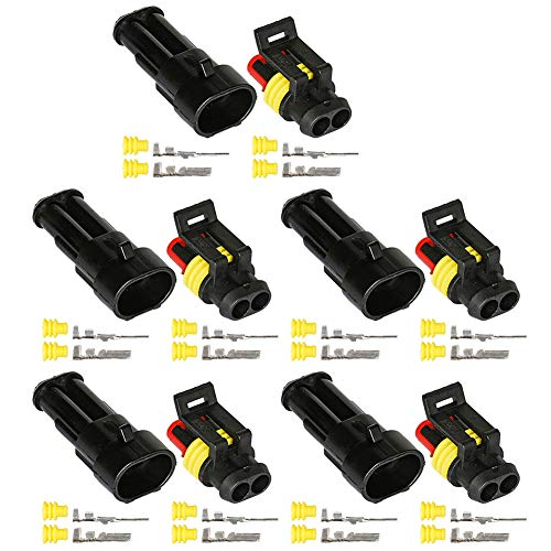 HIFROM 5 Kit 2 Pin Way Waterproof Electrical Connector 1.5mm Series Terminals Heat Shrink Quick Locking Wire Harness Sockets 20-16 - Housing Female Pin Crimping