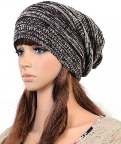 [Unisex Womens Mens Knit Baggy Beanie Hat Winter Warm Oversized Ski Cap (Coffee)] (Jumbo Hip Hop Adult Hat)