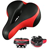 IZTOSS Memory Foam Bicycle Cushion with Safety Tail Sticker for Bike Saddle,Fits Cruiser and Stationary Bikes,Indoor Cycling-Black&red