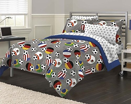 5 Piece Boys Grey Soccer Fever Comforter Twin Set, Stylish Football Sports Balls Themed, Sport Fan Ball Game Bedding, America Brazil France Germeny Mexico Flag Designs, Blue Gray White Black