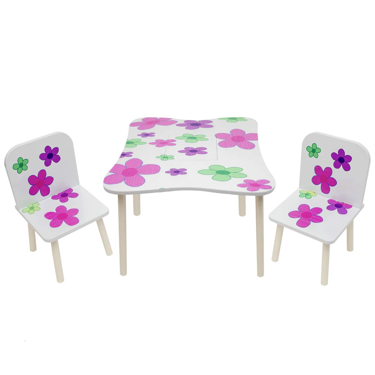 Kids Wooden Table & 2 Chairs Set Children'S Bedroom Playroom Nursery Furniture with extra hidden storage in middle. (Flower Design with round Corner) CMY