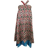 Womens Magic Wrap Skirt Vintage Silk Sari Two Layer Reversible Beach Cover Up (Red, Black)