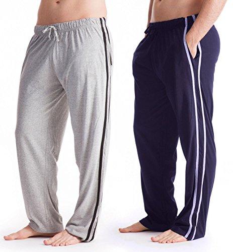 Mens Long Lounge Nightwear Bottoms/Pants (2 Pack) (M Waist 32-34in) (Black/Grey)