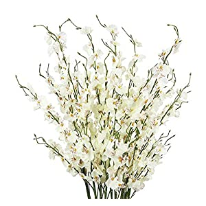 MARJON FlowersArtificial Orchids Flowers, 12 Pcs Silk Fake Orchids Flowers in Bulk Orquideas Flowers Artificial for Indoor Outdoor Wedding Home Office Decoration Festive Furnishing Milky White 120