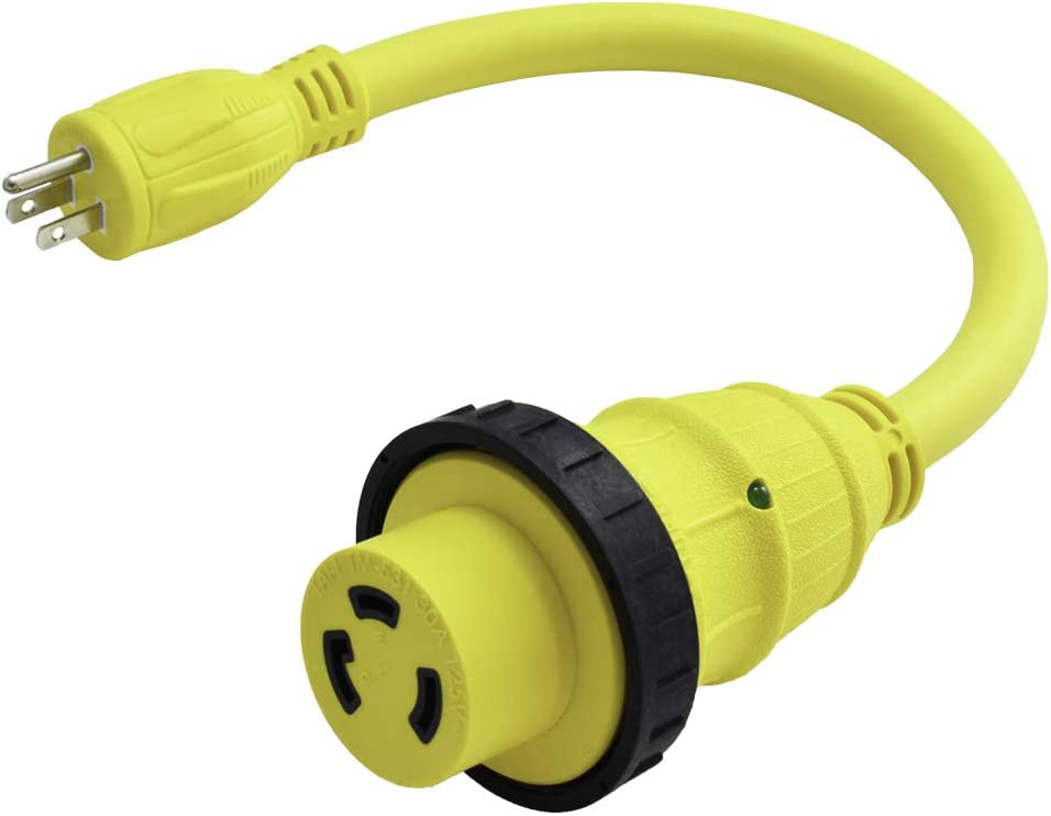 Marvine Cable Shore Power Cord Adapter 15Amp Male 5-15P to 30Amp Lock Female L5-30R Pigtail 1.5Ft: Home Audio & Theater