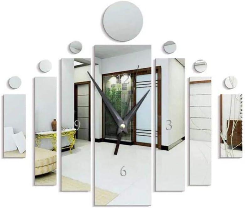pikins Mode Bricolage muet Quartz Miroir Horloge Murale Autocollant Horloge d/écorative /à la Maison Pendules murales