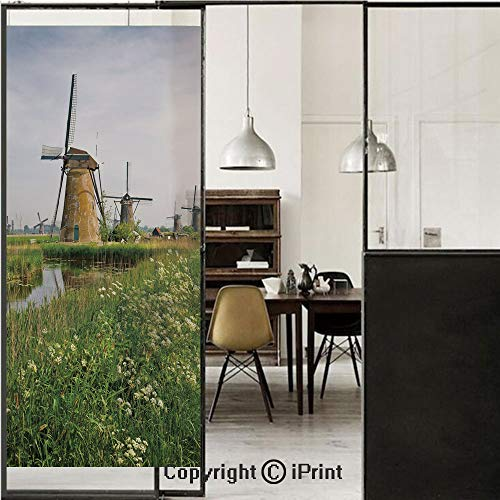 Windmill Decor 3D Decorative Film Privacy Window Film No Glue,Frosted Film Decorative,Country Landscape The Netherlands Spring Blooming Parsley Decorative,for Home&Office,23.6x70.8Inch Green Light Cof