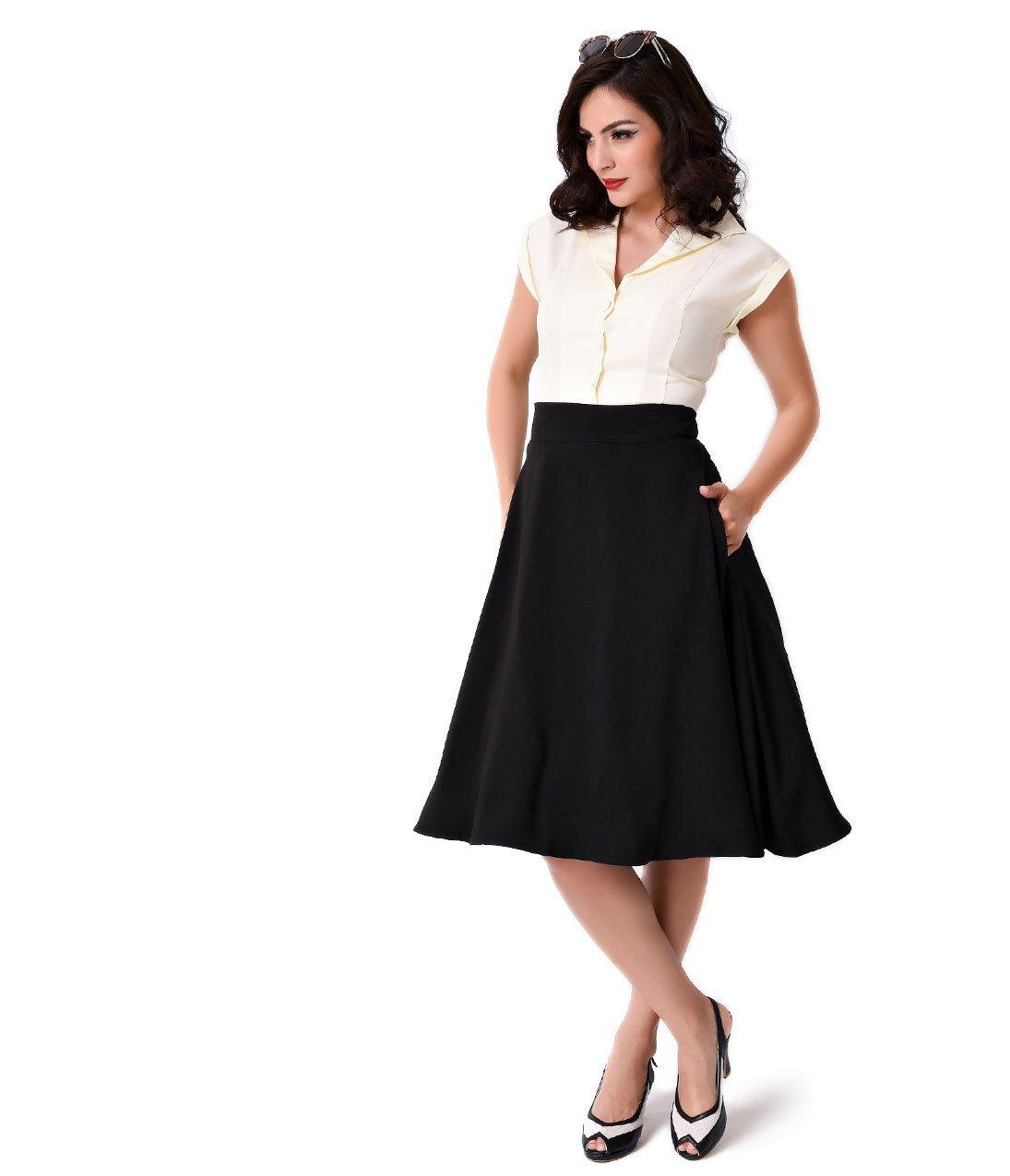 Iconic by UV Vintage Style Black High Waist Vivien Swing Skirt